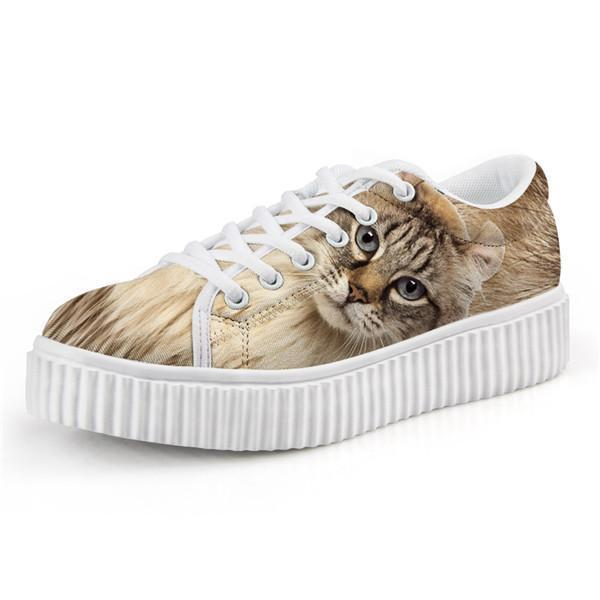 Cute Fabulous Cat Design Lace-up Creepers Shoes Cat Design Footwear Pet Clever US 5 - EU35 -UK3