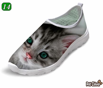 Cute Gloomy Cat Printing Air Mesh Shoes Cat Design Footwear Pet Clever US 5 - EU35 -UK3