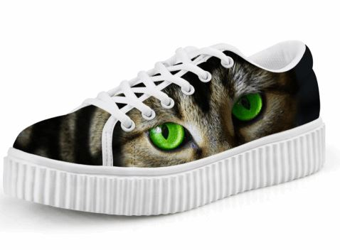 Cute Green Eyes Cat Printing Casual Lace-up Platform Creepers Shoes Cat Design Footwear Pet Clever US 5 - EU35 -UK3