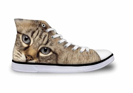 Cute Grey Cat Printing High-top Canvas Shoes Cat Design Footwear Pet Clever US 5 - EU35 -UK3