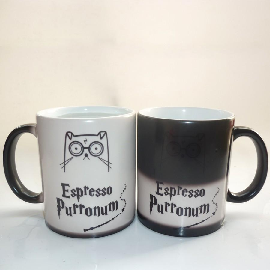 Cute Harrypotter Cat Color Changing Magic Cup Mug Cat Design Mugs Pet Clever
