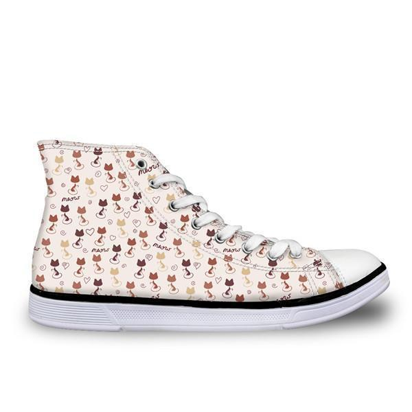 Cute High Top Casual Brown Cat Pattern Design Shoes for Women Cat Design Footwear Pet Clever US 5 - EU35 -UK3