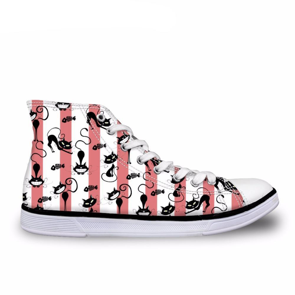 Cute High Top Casual Cat Pattern in Stripes Design Shoes for Women Cat Design Footwear Pet Clever US 5 - EU35 -UK3
