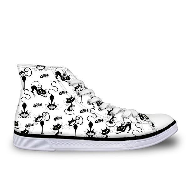 Cute High Top Casual Cat Pattern in White Design Shoes for Women Cat Design Footwear Pet Clever US 5 - EU35 -UK3