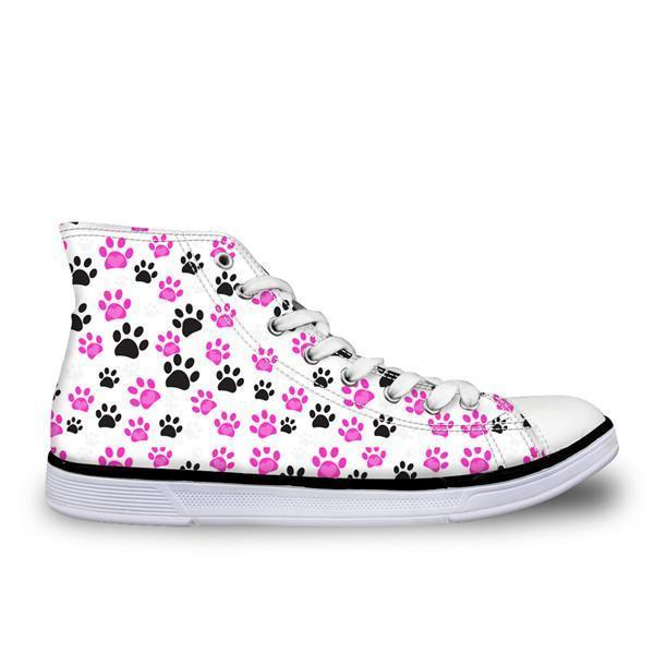 Cute High Top Casual Cat Paw Pattern Design Shoes for Women Cat Design Footwear Pet Clever US 5 - EU35 -UK3