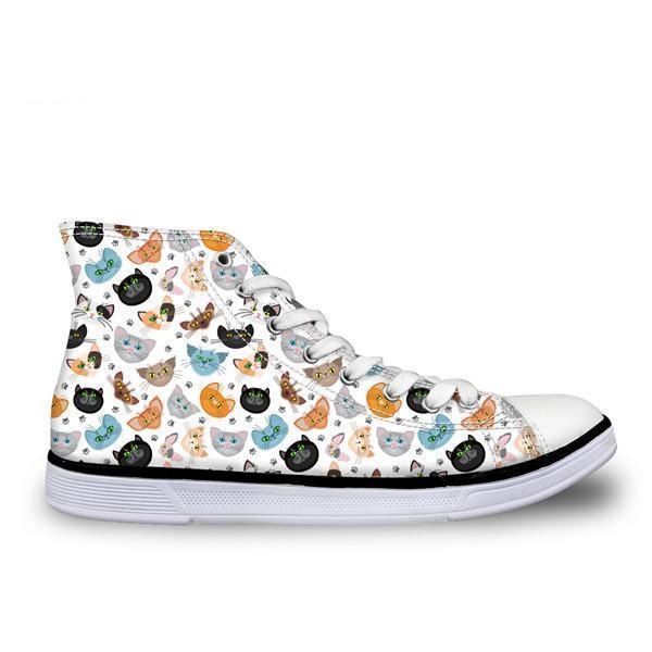 Cute High Top Casual Colorful Cat Pattern Design Shoes for Women Cat Design Footwear Pet Clever US 5 - EU35 -UK3