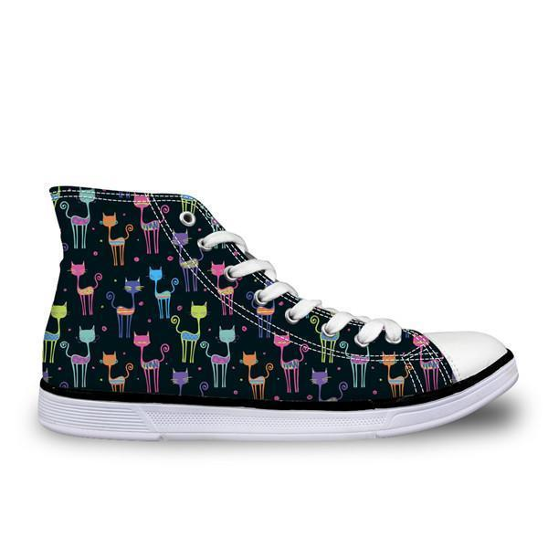 Cute High Top Casual Petite Cat Pattern Design Shoes for Women Cat Design Footwear Pet Clever US 5 - EU35 -UK3
