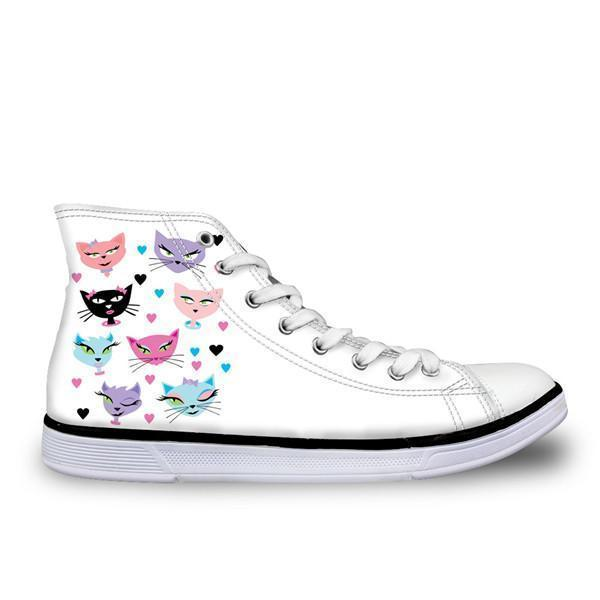 Cute High Top Casual Sexy Cat Design Shoes for Women Cat Design Footwear Pet Clever US 5 - EU35 -UK3