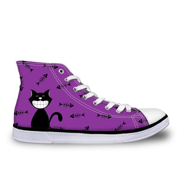 Cute High Top Casual Smiley Cat in Violet Design Shoes for Women Cat Design Footwear Pet Clever US 5 - EU35 -UK3