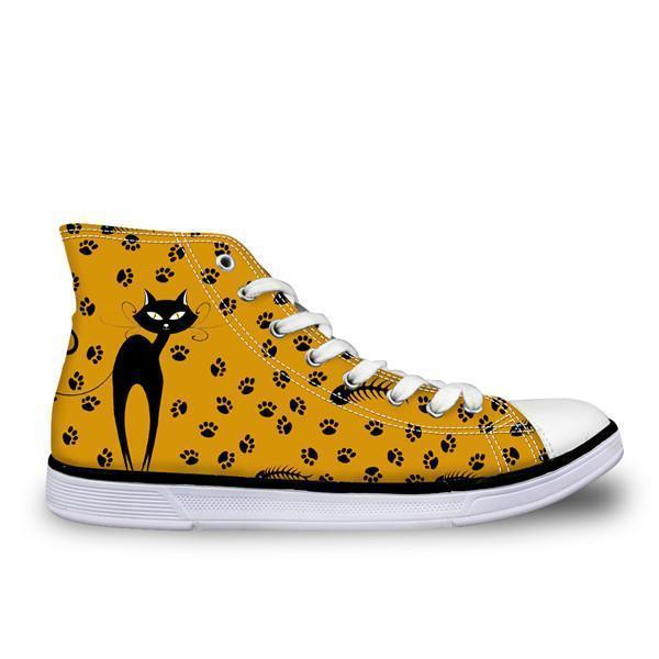 Cute High Top Casual Yellow Cat Design Shoes for Women Cat Design Footwear Pet Clever US 5 - EU35 -UK3