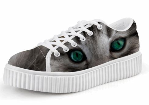 Cute Jade Eyes Cat Printing Casual Lace-up Platform Creepers Shoes Cat Design Footwear Pet Clever US 5 - EU35 -UK3