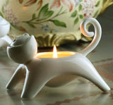 Cute Kitty White Ceramic Candlestick Or Egg Cups Home Decor Cats Pet Clever