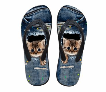 Cute Paw Out Cat 3D Printing Beach Flip Flops Slippers Cat Design Footwear Pet Clever US 5 - EU35 -UK3
