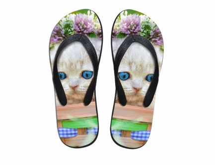 Cute Sad Cat Flower Print Flip Flops Slippers Cat Design Footwear Pet Clever US 5 - EU35 -UK3