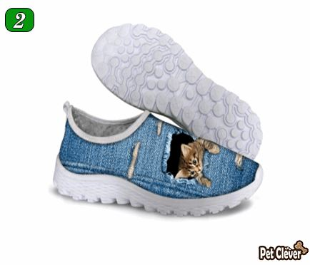 Cute Sneaky Cat Air Mesh Shoes Cat Design Footwear Pet Clever US 5 - EU35 -UK3