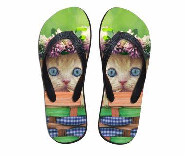 Cute Staring Cat 3D Printing Beach Flip Flops Slippers Cat Design Footwear Pet Clever US 5 - EU35 -UK3