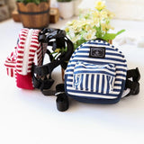 Cute Striped Pet Travel Backpack with Harness Leash Dog Harness Pet Clever