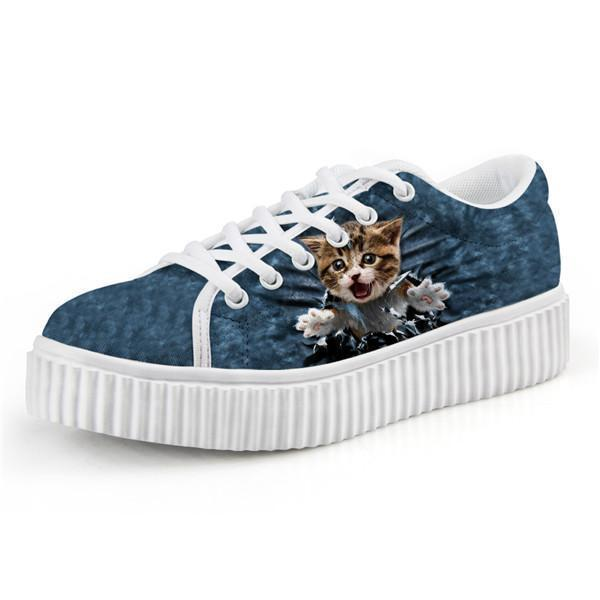 Cute Surprised Cat Design Lace-up Creepers Shoes Cat Design Footwear Pet Clever US 5 - EU35 -UK3