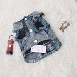 Cute Warmer Four Legs Cat Denim Clothes Cat Clothing Pet Clever