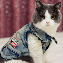 Cute Warmer Four Legs Cat Denim Clothes