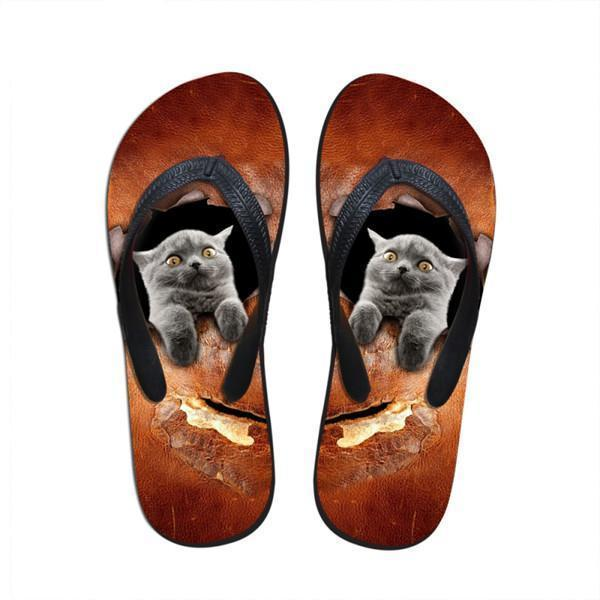 Cute Women Awkward Cat Print Beach Flip Flops Slipper Sandals Cat Design Footwear Pet Clever US 5 - EU35 -UK3