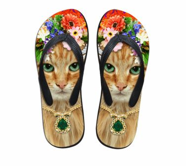 Cute Yellow Cat Print Beach Flip Flops Flat Slippers Cat Design Footwear Pet Clever US 5 - EU35 -UK3