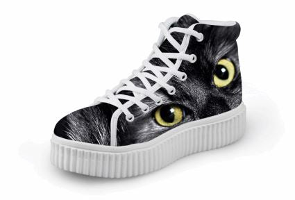 Cute Yellow Eyes Cat Printing Thick Bottom Flats Casual Shoes Cat Design Footwear Pet Clever US 5 - EU35 -UK3