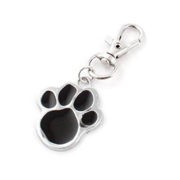 Dog Collar Pendant Tag Pawprint Dog Design Jewelry Pet Clever Black