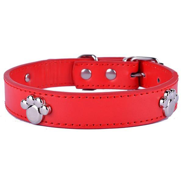 Dog Collar With Silver Paw Dog Leads & Collars Pet Clever Red S