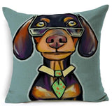 Dog Printed Linen Pillow Cover Dog Design Pillows Pet Clever G