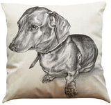 Dog Printed Linen Pillow Cover Dog Design Pillows Pet Clever Q