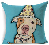 Dog Printed Linen Pillow Cover Dog Design Pillows Pet Clever F