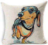 Dog Printed Linen Pillow Cover Dog Design Pillows Pet Clever I