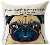 Dog Printed Linen Pillow Cover Dog Design Pillows Pet Clever P