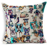 Dog Printed Linen Pillow Cover Dog Design Pillows Pet Clever C