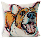 Dog Printed Linen Pillow Cover Dog Design Pillows Pet Clever O