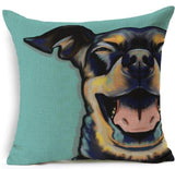 Dog Printed Linen Pillow Cover Dog Design Pillows Pet Clever B