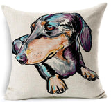 Dog Printed Linen Pillow Cover Dog Design Pillows Pet Clever