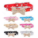 Dogs Bling Crystal Bow Leather Pet Collar Dog Leads & Collars Pet Clever