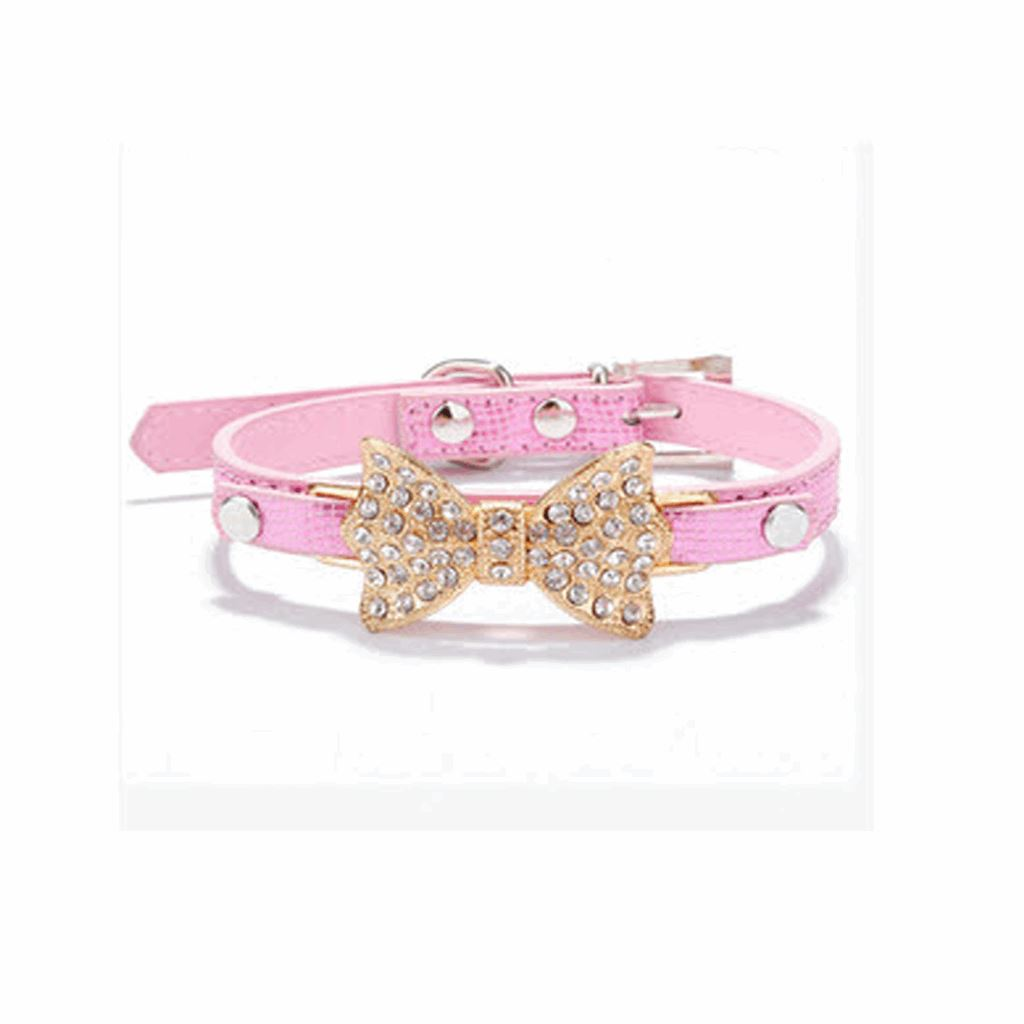 Dogs Bling Crystal Bow Leather Pet Collar Dog Leads & Collars Pet Clever Pink XS