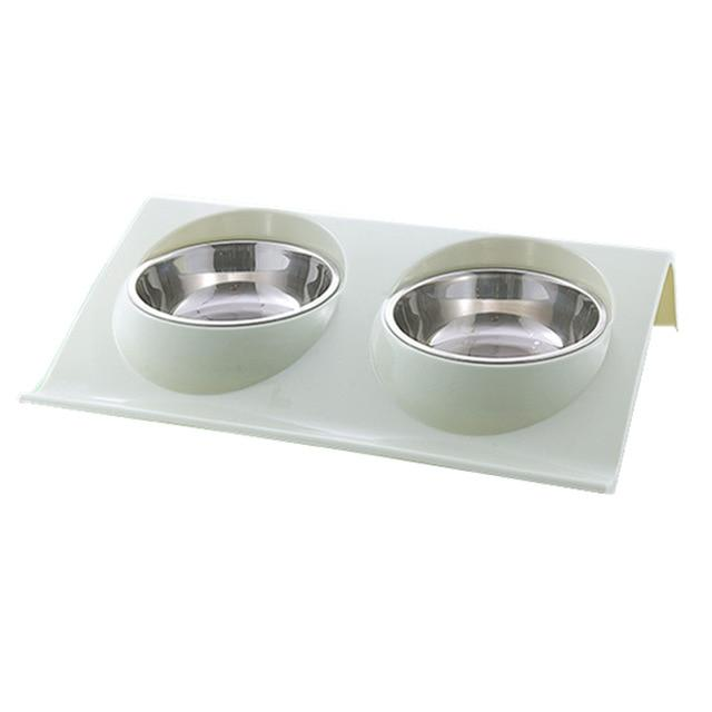 Double Bowl Pet Feeder Cat Bowls & Fountains Pet Clever Green