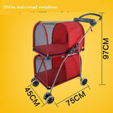 Double Layer Pet Stroller Good for Two Dog and Cat Dog Carrier & Travel Pet Clever