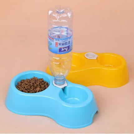 Dual Port Cat Bowl Drinking Fountain and Food Dish Bowl with Automatic Water Dispenser Feeder Cat Bowls & Fountains Pet Clever