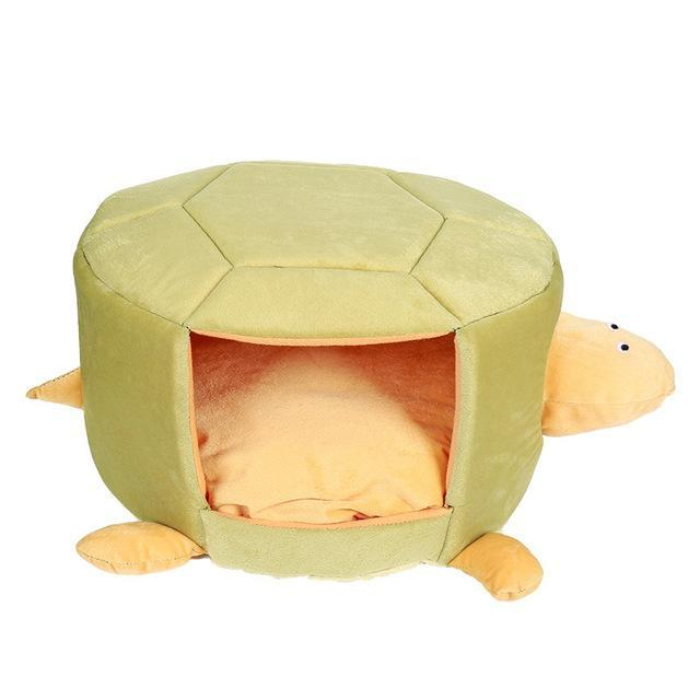 Dual-Use Turtle Shaped Removable Cat Mattress Nest Bed Cat Beds & Baskets Pet Clever Yellow S