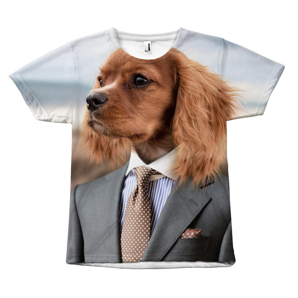 Elegant Dog in a Suit Design T-Shirt All Over Print teelaunch Dog with a Suit S