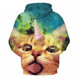 Fantasy Unicorn Cat Hoodie All Over Print Galaxy Sweatshirt Unisex Cat Design Hoodies Pet Clever
