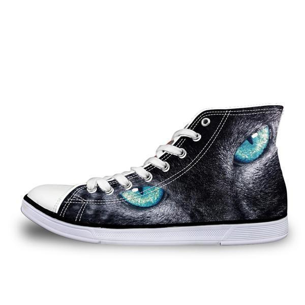 Fashion 3D High Top Cat Design Print Shoes Cat Design Footwear Pet Clever A