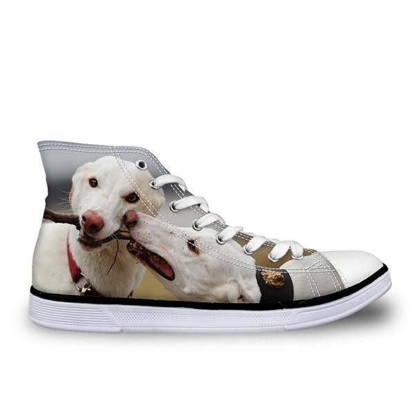 Fashionable High Top Women 3D Dog Print Shoes Dog Design Footwear Pet Clever 1