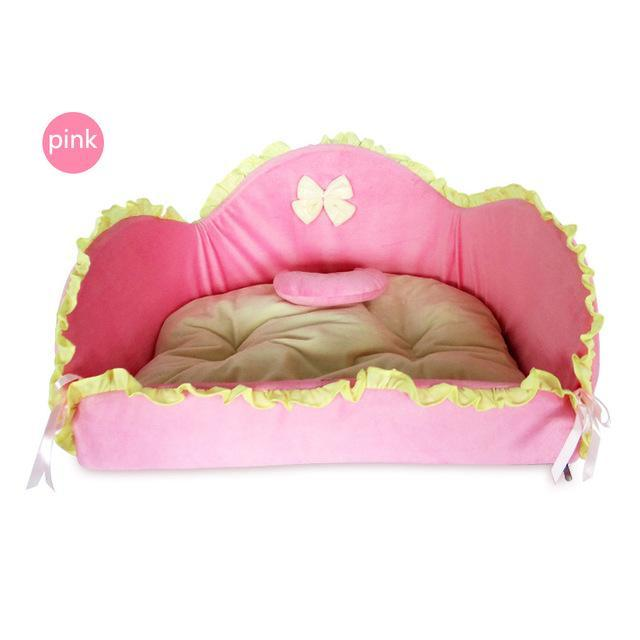 Fashionable Princess Style Sofa House Bed Cat Beds & Baskets Pet Clever Pink