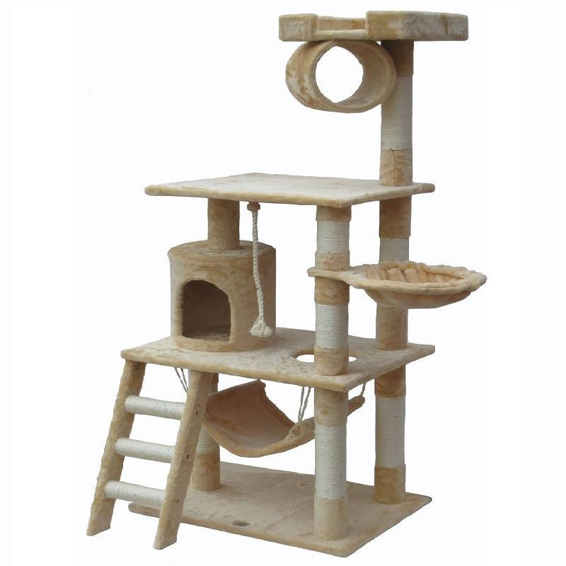 Faux Fur Cat Tree Furniture Cat Trees & Scratching Posts Pet Clever Beige